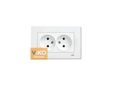 Розетка двойная белая VIKO Karre 90960055 без з/з