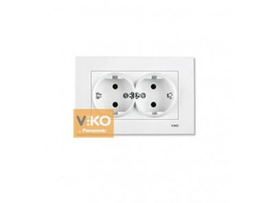 Розетка двойная белая VIKO Karre с зазем 90960056