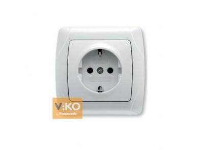 Розетка с заземлением белая VIKO Carmen 90561008