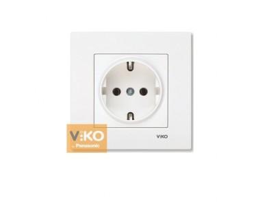 Розетка с заземлением белая VIKO Karre 90960008