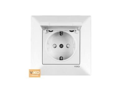Розетка с заземлением белая VIKO Meridian с крышкой 90970012