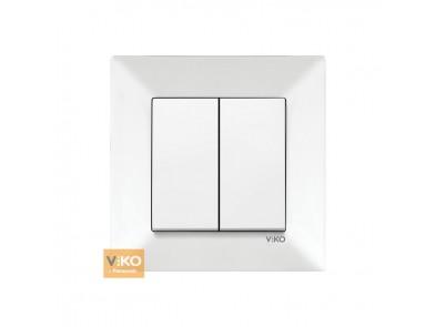 Выключатель двухклавишный белый VIKO Meredian 90970002