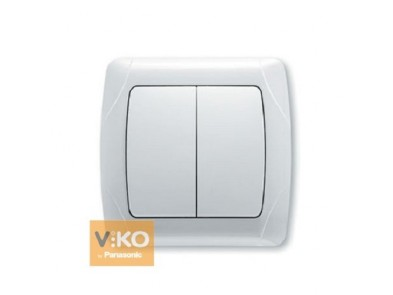 Выключатель двухклавишный белый VIKO Carmen 90561002
