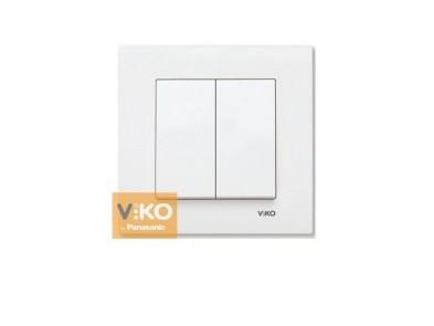 Выключатель двухклавишный белый VIKO Karre 90960002
