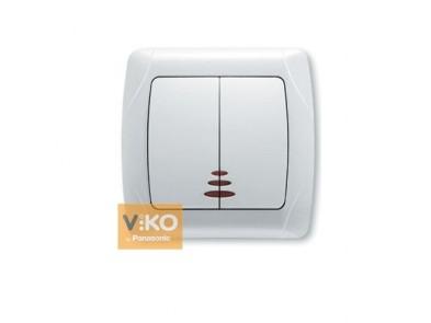 Выключатель двухклавишный белый VIKO Carmen с подсветкой 90561050